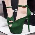 Mulheres sapatos de couro de alta qualidade pu lady moda peep toe verde sapatos de festa plataforma feminina salto fino bombas zapatos de mujer