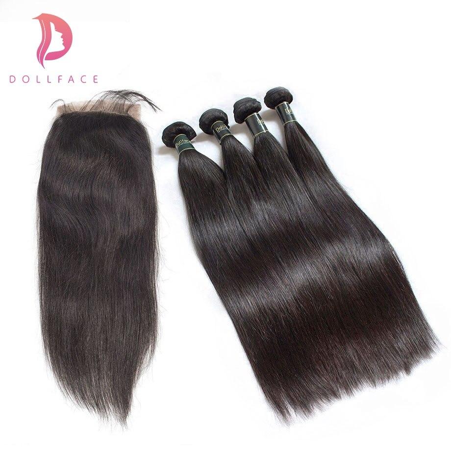 Haarsalon Versorgungskette Dollface Malaysische 4 Menschliches Haar Bundles Mit Schließung Gerade Haar Bundles Mit Verschluss Remy Haar Verlängerung Kostenloser Versand