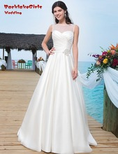 BacklakeGirls 2017 Simple A Line Wedding Dresses Party Satin Court Train Custom Made Bride Dress For Women