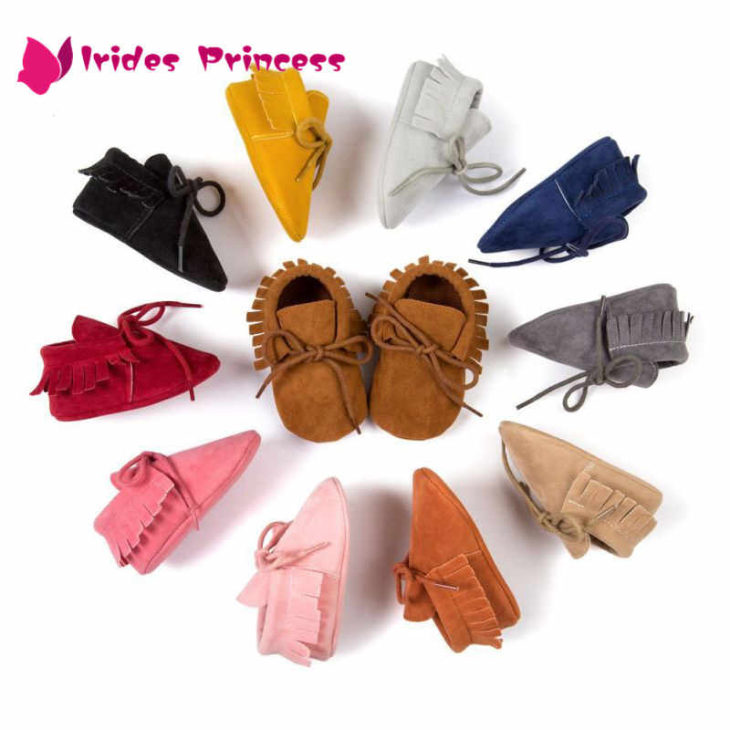 Püsküller 11 Renkli PU Deri Bebek Ayakkabıları Bebek Moccasins Yenidoğan Ayakkabı Yumuşak Bebekler Beşik Ayakkabı Sneakers İlk Yürüteç