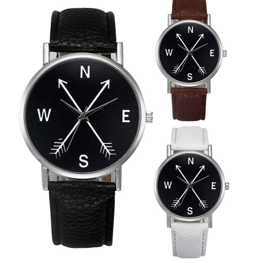 kompas pola klasik pria wanita jam tangan retro desain kulit band kuarsa digital relogio