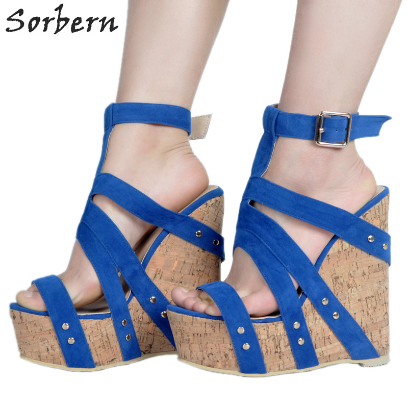Sorbern Wedges Shoes For Women High Heel Platform Sandals Women 2017 Summer Open Toe Blue Size 34-47 Custom Available mudibear women sandals pu leather flat sandals low wedges summer shoes women open toe platform sandals women casual shoes