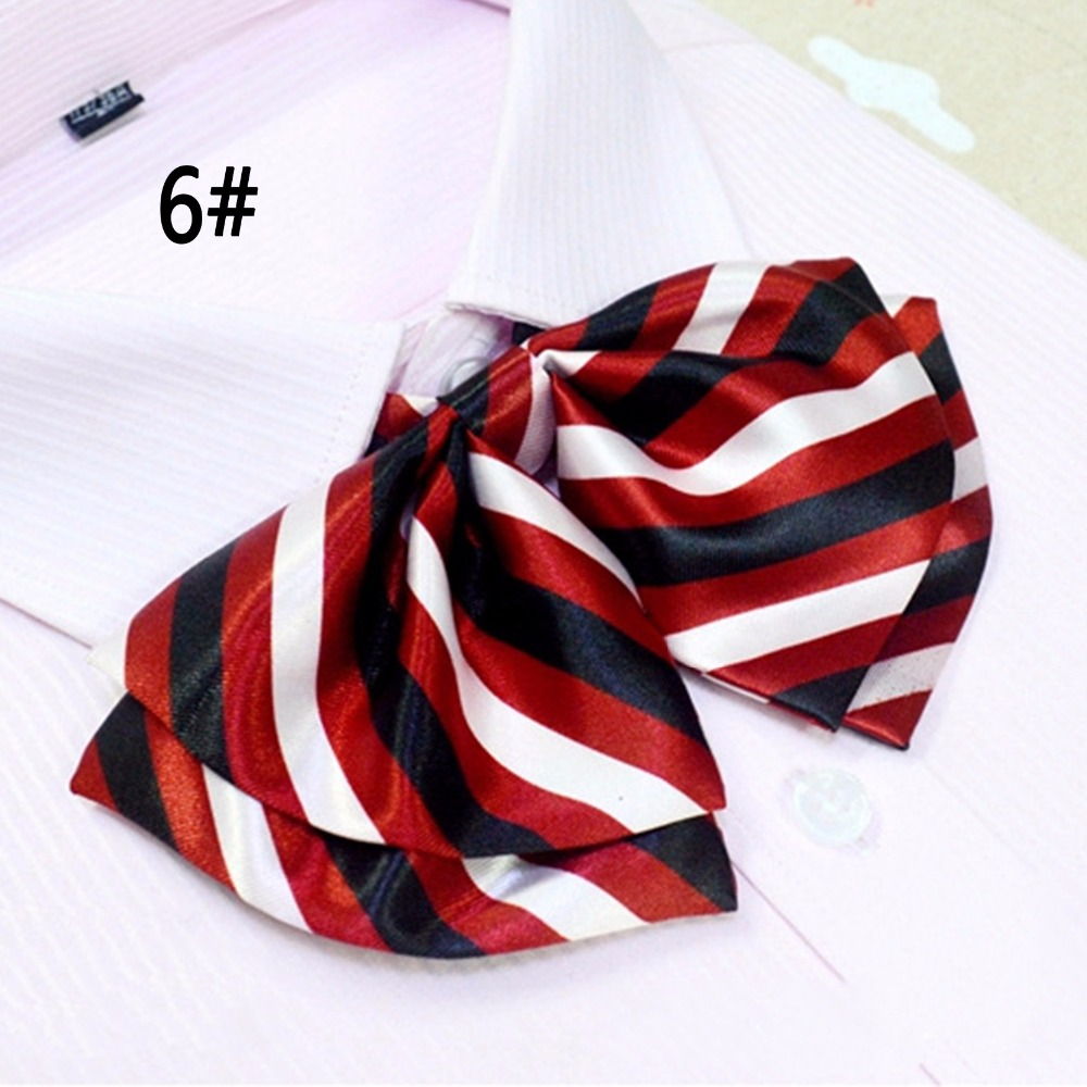 New Arrival School Style Girls Bow Pure Lady Dress Tie Collar Women Multi Style Stripe Pattern Silk Bow Ties For Ladies 2 piece