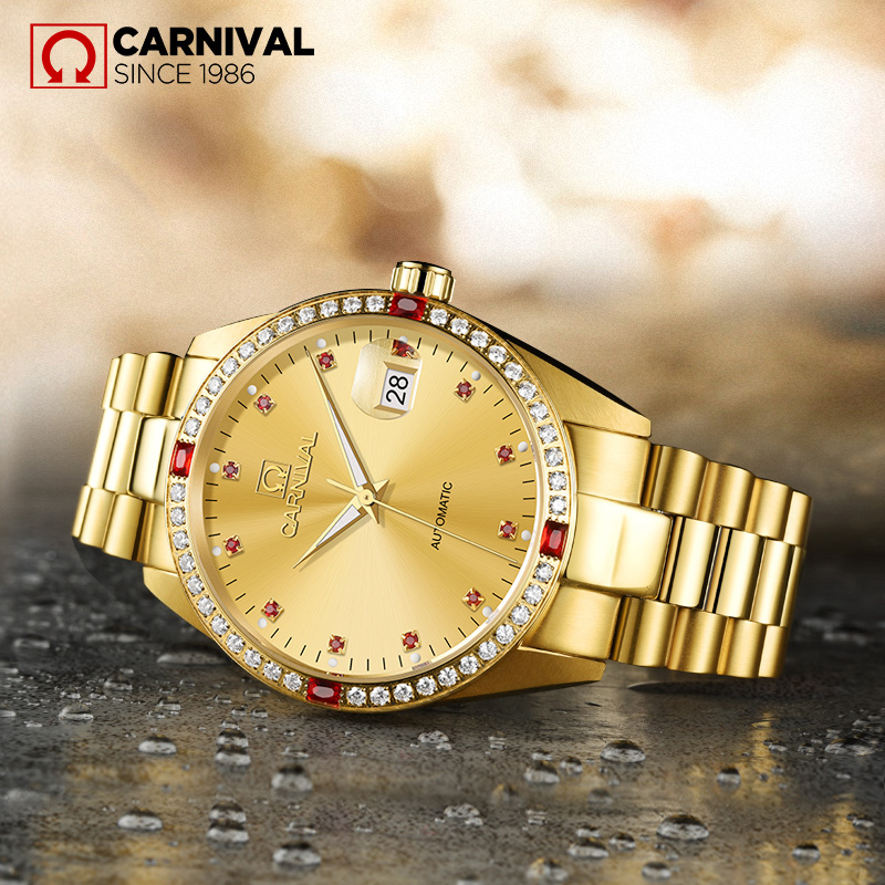 Luxury Carnival Brand Business Mechanical Watch Men 18K Gold Case Red Diamond Sapphire Glass Luminous Clock Relojes Hombre Hot men s quartz relogio masculinos dial glass time men clock leather business round case hour watch relojes hombre levert dropship