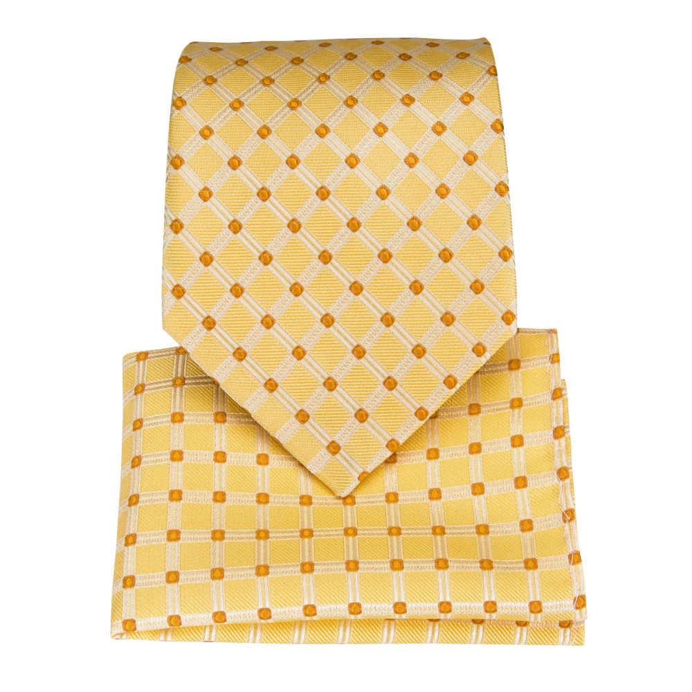 61422ef824c9 ... New Yellow Ties Sets New Design For Men Striped & Dot & Paisley Tie  Handkerchief Cufflinks ...
