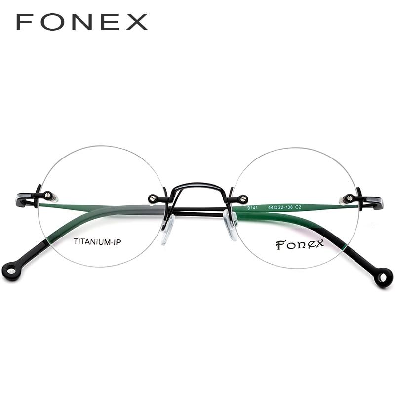FONEX pur titane sans monture optique lunettes cadre hommes Vintage rond Prescription femmes myopie lunettes pour petit visage 9141 - 2