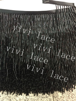 yy009-2  black # 5 meters long tube with round beads tassel fringe 17-18 cm width for decoration dress/fashion designer