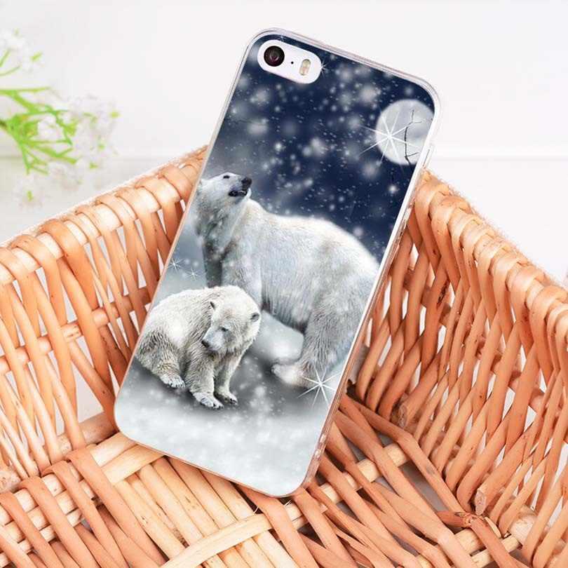 MaiYaCa reprodukcja czarny i biały plakat niedźwiedź polarny miękkie etui z TPU na telefon pokrywa dla Apple iPhone 8 7 6 6 S Plus X 5S SE 5C 4S przypadku
