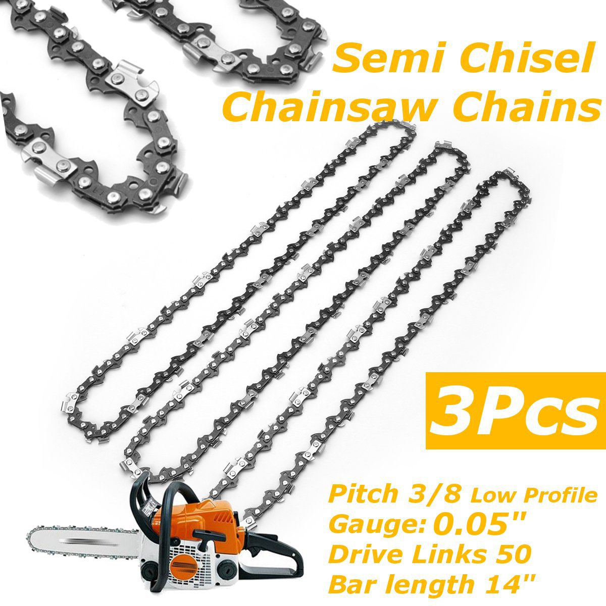 3Pcs Chainsaw Semi Chisel Chains 3/8LP 0.05 For Stihl MS170 MS171 MS180 MS181 Electric Saw image