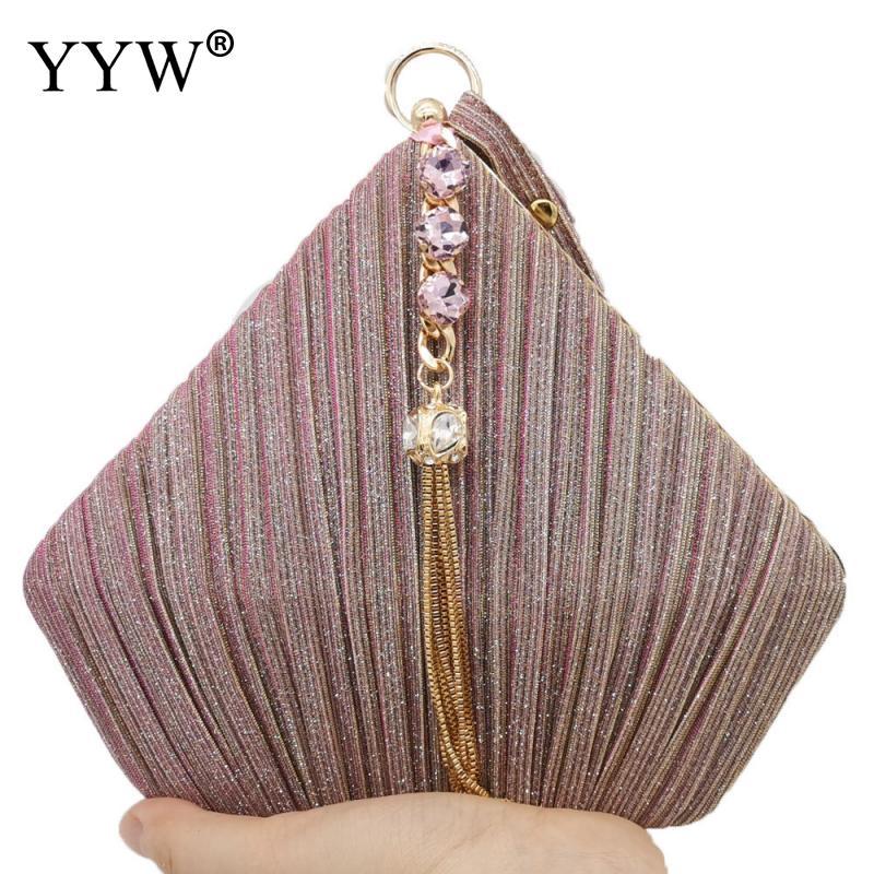 YYW женская сумка клатч, с треугольным вырезом, для вечеринки, со стразами и кисточками, для свадьбы