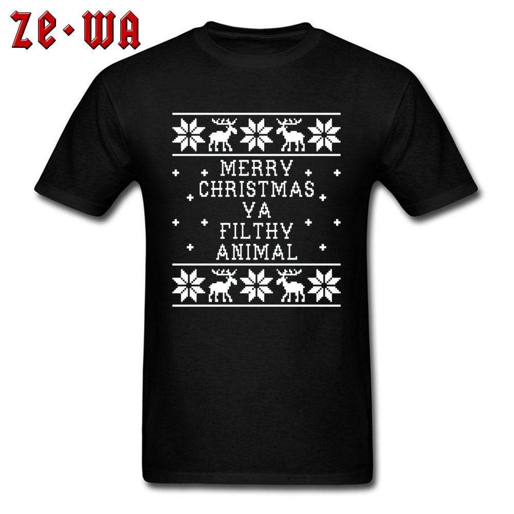 3D Letter Print Discount Mens Tops & Tees Merry Christmas Ya Filthy Reindeer Tshirt 100% Cotton Personalized Tops T Shirt Xmas