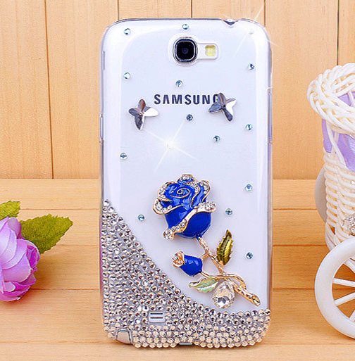 For Samsung Galaxy note 2/N7100 Rhinestone mobile phone case -Blue rose