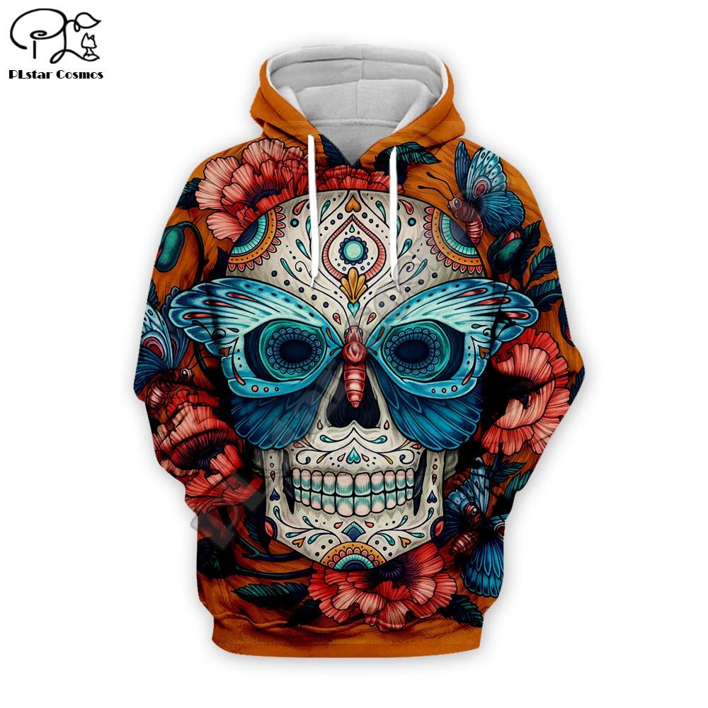 Halloween Skull head butterfly print Men 3d Hoodies Sweatshirts Funny harajuku Streetwear Autumn Jackets Tracksuits