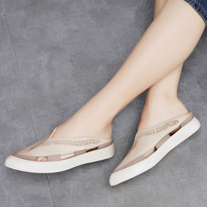 Women Leather Slippers Pointed Toe Low Heel Mule Slippers Beige Shoes Summer Hollow Out Genuine Leather Women Casual SlippersWomen Leather Slippers Pointed Toe Low Heel Mule Slippers Beige Shoes Summer Hollow Out Genuine Leather Women Casual Slippers