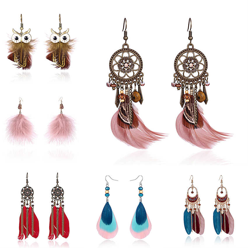 Boho Ethnic Long Feather Tassel Dangle Earrings For Women Vintage Colorful Owl Leaf Feather Drop Earrings Brincos Bride Jewelry