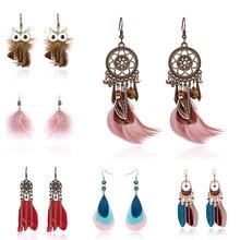 Boho étnico longo pena borla balançar brincos para as mulheres do vintage colorido coruja folha de penas brincos de gota brincos noiva jóias