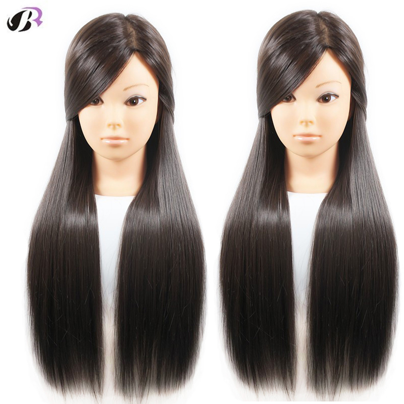 """Hot Sale Female 26"""" Hair Head Training Mannequins For Hairdressing Practise Hairstyles Head Training Dummy Dolls With Free Clamp"""