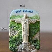1 Uds. Recuerdos de viajes por el mundo  imanes de nevera de Brasil  adhesivo magnético para nevera hecho a mano de resina 3D  decoración del hogar