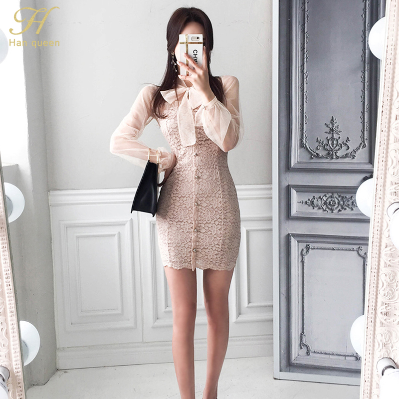 H Han Queen Women Elegant Sexy See Through Lace Formal Evening Party Ol Bow Bandage Sun Protection Sheath Mini Dress 2018 Summer by H Han Queen