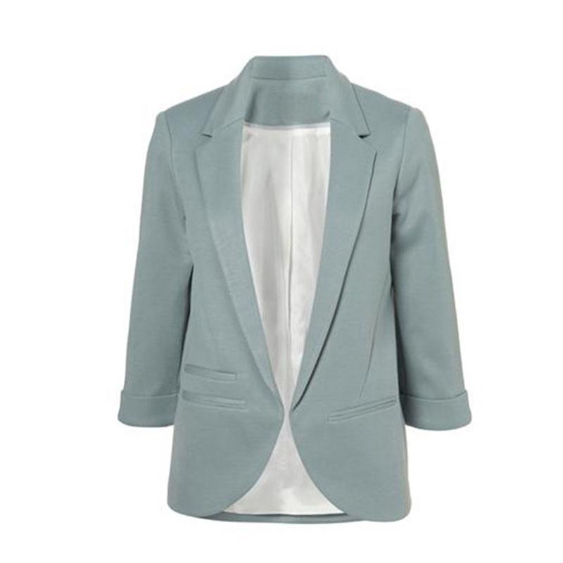 2015 Frauen Candy Farben Dünne Beiläufige Blazer Mit Drei Viertel Sleeve Kerb Jacke Mantel Outwear Plus Größe Solide Arbeit Blazer 100% Garantie