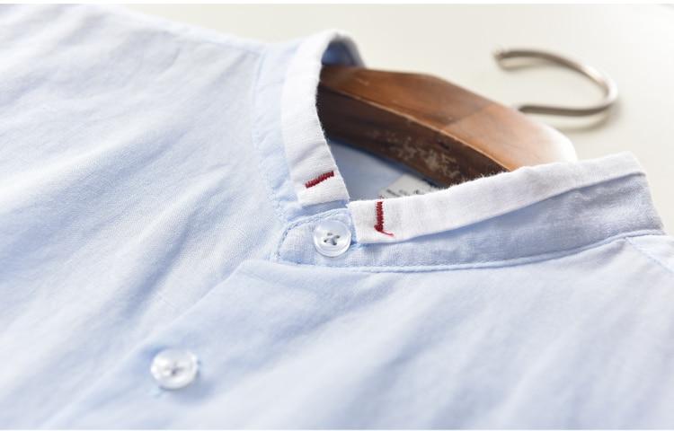 Yaz Yeni Marka erkek gömlek Slim Fit Keten gömlek erkekler uzun - Erkek Giyim - Fotoğraf 5