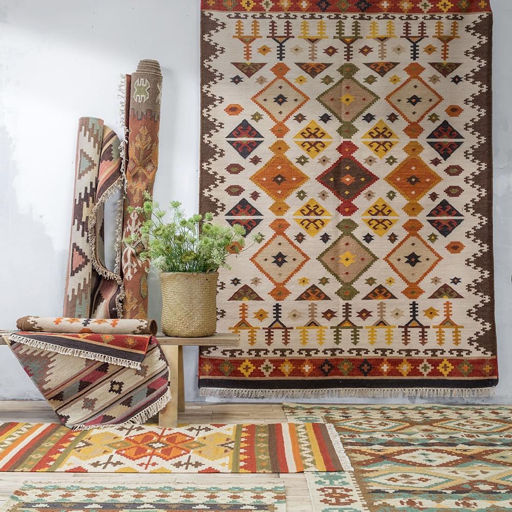 Inde Kilim Nation terres étrangères Bomi vent géométrie Europe du nord moderne un salon tapis tapis tapis Tapestrygc193kilimyg40