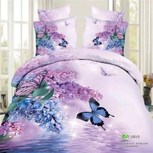 Light Purple Blue Flower and Butterfly 3D Bedding Set Queen King Size Cotton Bed Sheet Pillowcase Quilt Cover Literie Couverture