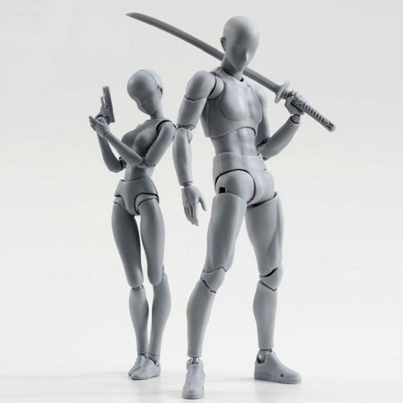 3D Grey Body Chan Body Kun Action Figure Model Toy Anime Male Female Bipartite Body With Weapon Juguetes Creative Display Toys shfiguarts pvc body kun body chan body chan body kun grey color ver black action figure collectible model toy