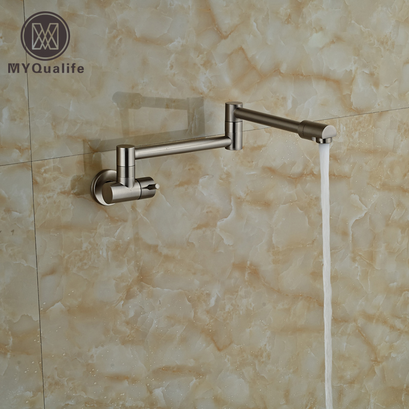 Brushed Nickel Single Handle Bathroom Kitchen Faucet One Hole Cold Water Folding Washing Basin Taps