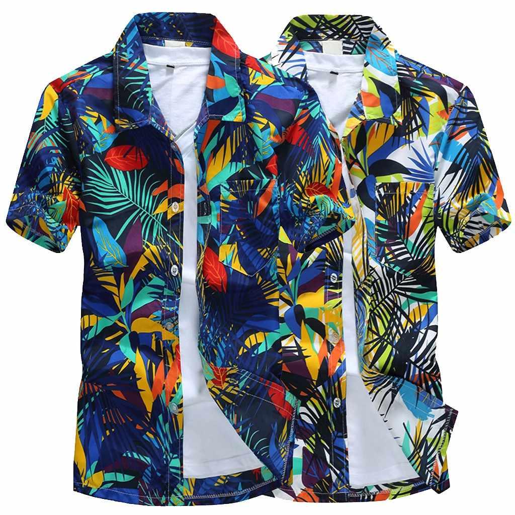 Гавайский Для мужчин принтом короткие спортивные Для мужчин блузка Новое поступление 2019 пляжные быстросохнущая блузка Блуза Топ 2019 F1