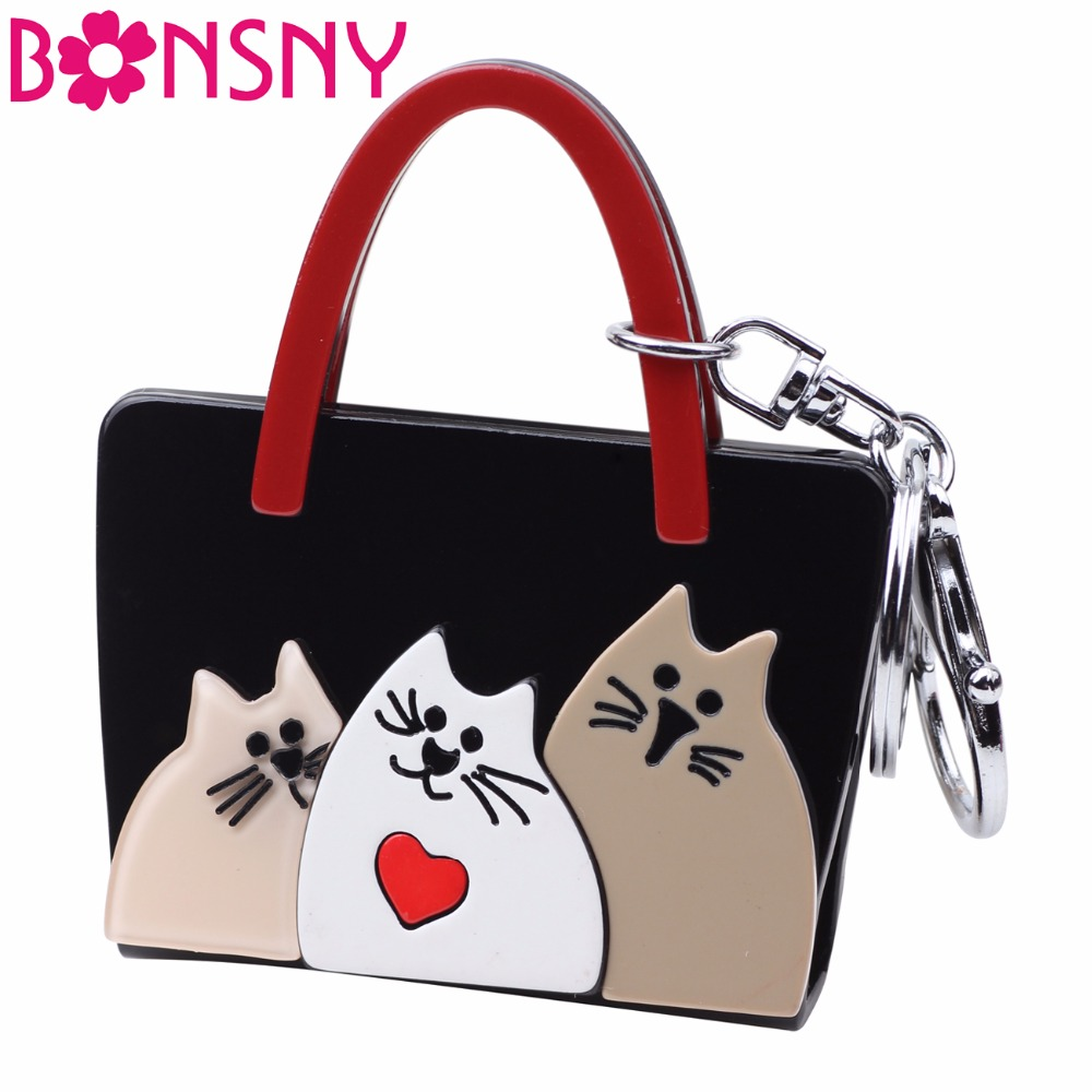 Bonsny Acrylic Womens Bag Cat Kitten Pattern Handbag Shape Key Chain Key Ring New Fashion Jewelry For Girl Charm Key Accessories creative piano key birds pattern square shape flax pillowslip without pillow inner