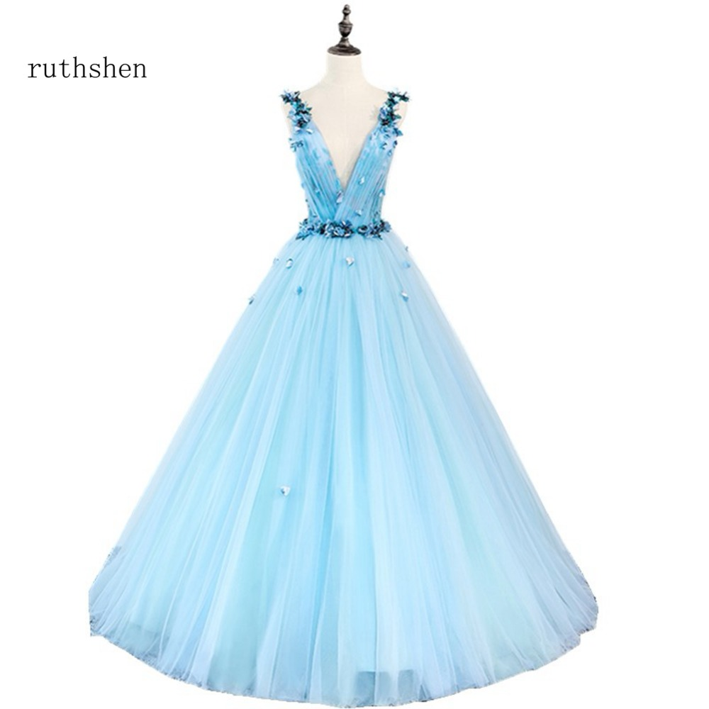 ruthshen Luxury Deep V Neck   Prom     Dresses   Flowers Sleeveless Sexy Long Vestidios Formal Evening Gowns Robe Longue Femme Soiree