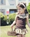 Перевозка груза падения Девушки Модные цветочные casual спортивный костюм детская одежда набор рукавов наряд + шорты 2015 летний новый дети ткань