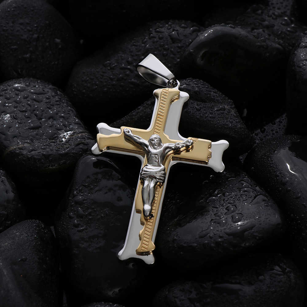 Stainless Steel Christs Jesus Cross Necklace Pendant Byzantine Chain Link Gold Silver Punk Tone Jewelry for Men Pendant Gift