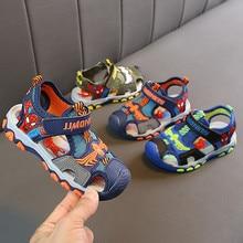 ZYJ обувь для мальчиков человек паук Лето сандалии с закрытым носком детская спортивная обувь девочек мультфильм человек паук Нескользящие Детские пляжные Санд