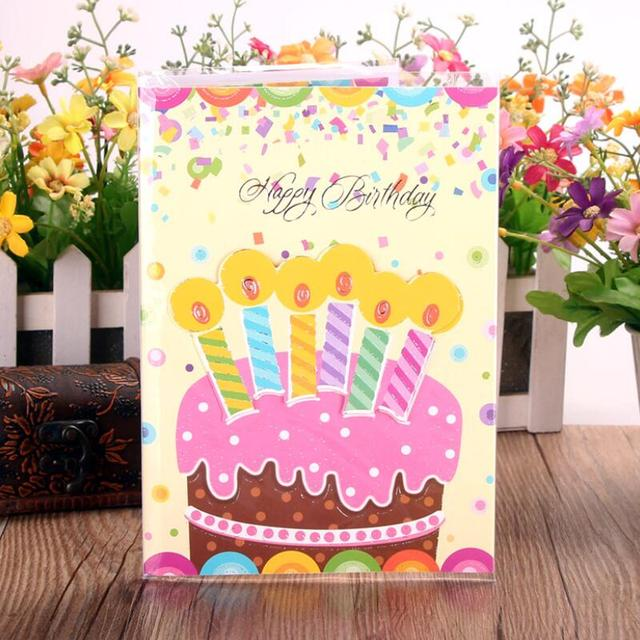 6pcs Lot Birthday Cake Music Greeting Card Special Today Blessing Postcards Gift Set Message