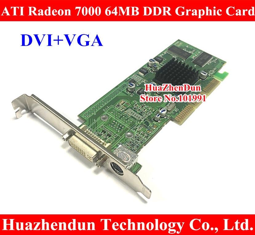 Brand New ATI Radeon 7000 64M DDR DVI AGP Graphic Card Video Card DVI+TVO agp 8x ati radeon 9550 256mb 128bit video card red