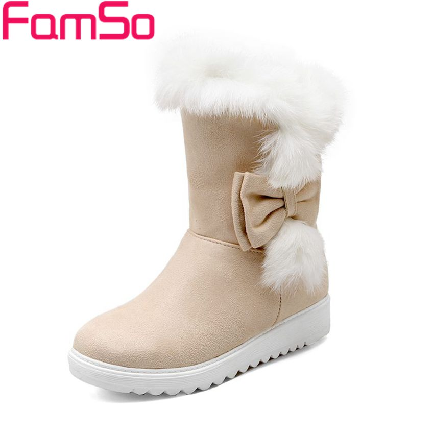 Plus Size34 43 2016 Sexy font b Women b font Boots Designer Flats Shoes Solid Fur