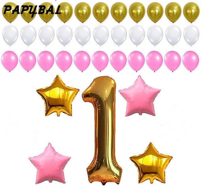 1st Geburtstag Dekoration Rosa Weiss Gold Luftballons Fur 1st Baby