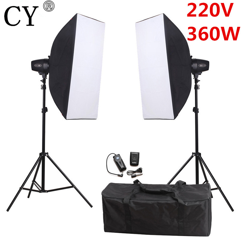 CY 360W 220V Photography Studio Soft Box Flash Lighting Kits Softbox*2+Stand*2+Storbe Flash Light*2 For Photo Studio Godox K180A