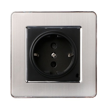 86 type LED random point switch mirror acrylic  household  stainless steel  brushed panel 1 2 3 4 Gang 1  2 Way switch EU Socket 24