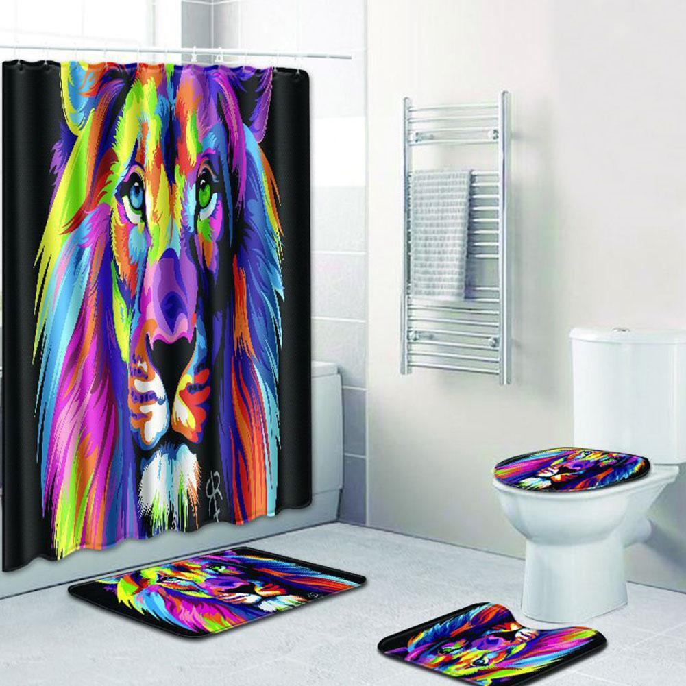 4Pcs/Set Colorful Lion Pattern Nonslip Bathroom Mat Shower Curtain  Waterproof Polyester Washable Bathroom Shower Curtain Screen