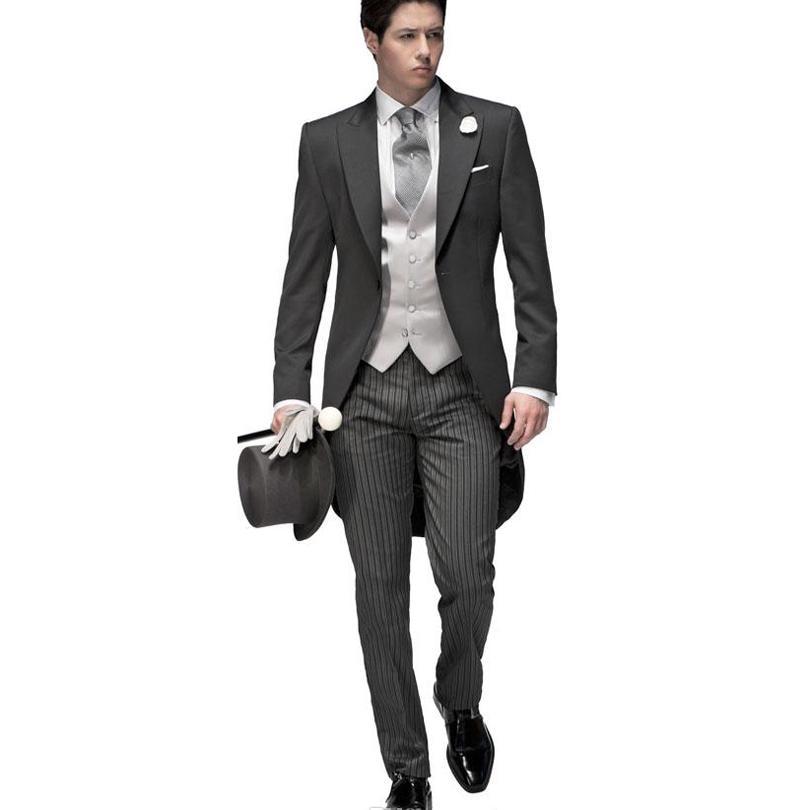 2017 Nuevo esmoquin de boda para hombre/novio, conjunto de trajes de 3 piezas, traje de Bridegrom gris y negro (chaqueta + Pantalones + chaleco)-in Trajes from Ropa de hombre    3