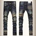 Мода марка череп узкие джинсы мужчины прямой ногой джинсовые брюки мужские разорвал байкер джинсы мотоциклов slim-подходят промывают