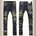 Fashion Brand Skull Skinny Jeans Men Straight Leg denim Trousers mens Ripped  Biker Jeans Motorcycle Slim Fit Washed