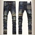 Marca de moda crânio Jeans Skinny homens perna reta denim calças dos homens Jeans rasgados motociclista moto Slim Fit lavado