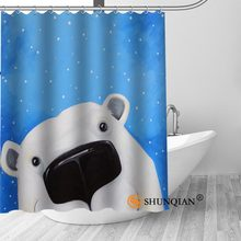 Big Sale Custom Nordic Kawaii Bear Shower Curtain with Hooks bathroom Waterproof Polyester Fabric DIY Your Own Shower Curtain(China)