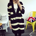 Autumn Winter Female Sweater All Match Fashion V Collar Double Breasted Women Knitwear Girl's Cardigan Black White Cross Stripes