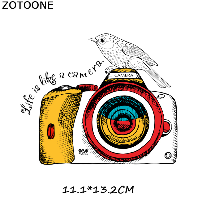 ZOTOONE Skull Patch Motorcycle Badge Camera Stickers Iron on Transfers for Clothes T-shirt Accessory Appliques Heat Transfer F1