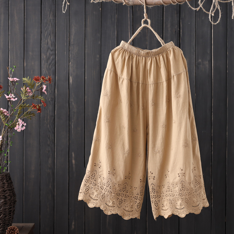 hollow out Embroidered cotton   Wide     leg     pants   female summer solid color literary   pants